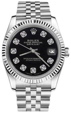 Rolex Datejust Black Diamond Face 18K White Gold Stainless Steel Womens 26mm Watch
