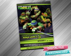 Hey, I found this really awesome Etsy listing at https://www.etsy.com/listing/200429177/ninja-turtles-invitation-turtle