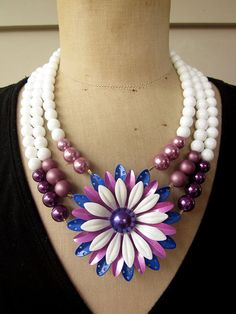 SALE Vintage Necklace Enamel Flower Necklace Multi by rebecca3030, $139.00