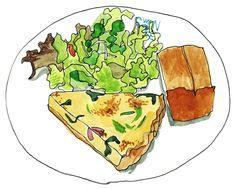 Food Illustrations, Illustration Art, Noodle Salad, Food Journal, Food Drawing, Food Humor, Backpacker, Japanese Food, Deli