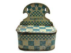 1920's Blue Cream French Allumettes Tin Match Box by VintageGypsies,