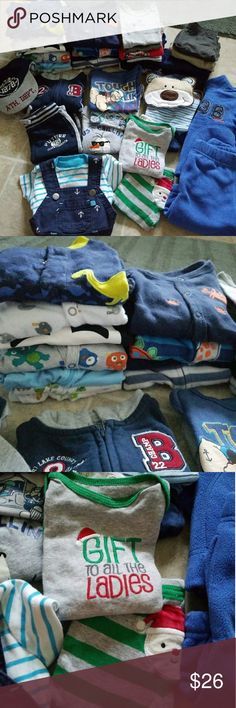 Huge 0-3 Month Boy Bundle Includes everything shown, good condition from smoke-free home  (some light staining on some items, others new never worn). Includes: 10 pjs, 8 onsies, 5 pants, 3 t shirts, 1 football outfit including hat, sweatpants and jacket, 1 nautical overalls outfit including overalls and shirt, 1 bear outfit including onsie, pants and bib, 1 santa outfit including onsie and pants and 1 fleece outfit with pants and jacket. Includes 38 items total! Carter's One Pieces