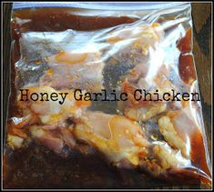 Honey Chicken  •10 boneless, skinless chicken thighs or 8 breasts •1 cup honey •1/2 cup soy sauce •¼ cup ketchup •2-3 cloves garlic, crushed •1 tsp ginger •½ cup pineapple juice •2 tablespoons cornstarch •1/4 cup water  Split into two bags.  Cook on low for 8 hours or high for 4-6 hours.