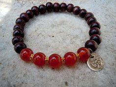 Yoga Bracelet / Wrist Mala / Carnelian / Ohm Bracelet /  Mala Beads by Syrean56, $26