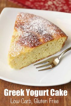 An easy recipe for an incredibly moist and fluffy Greek yogurt cake. Made with a… An easy recipe for an incredibly moist and fluffy Greek yogurt cake. Made with almond flour, this cake is also low carb and gluten free. Healthy Food Blogs, Healthy Dessert Recipes, Healthy Baking, Gourmet Recipes, Low Carb Recipes, Baking Recipes, Baking Desserts, Greek Dessert Recipes, Healthy Yogurt
