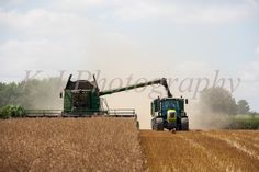 harvesting with John Deere Harvester & claas Tractor Photos Images UK