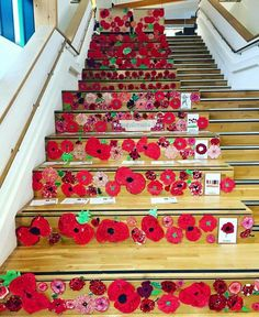 Elm Park Primary School in Havering Essex have created this beautiful display of poppies! Each child from the school has their poppy displayed on the staircase! What a lovely tribute Remembrance Day Activities, Remembrance Day Poppy, Primary School Art, Art School, School Ideas, Teacher Door Decorations, Art For Kids, Crafts For Kids, Third Grade Art