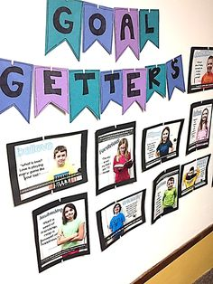 Goal Getters - goal setting display idea (Sparkles, Smiles, and Successful… Hallway Displays, Classroom Displays, Classroom Organization, Classroom Management, Classroom Ideas, Classroom Activities, Classroom Layout, School Displays, Classroom Design