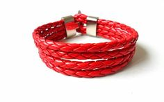 braceletfashion girl or women  red leather woven by feihong2012, $6.50