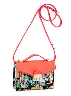 Mini Rider Tucker Floral Fabric with Neon Red Leather by Loeffler Randall x Tucker Coral Fashion, Jeweled Shoes, Chanel Purse, Floral Fabric, Beautiful Bags, Loeffler Randall, Women's Accessories, Red Leather, Shoulder Bag