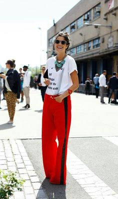 LOVE this! So super classy. Not sure which graphic tee would work, but totally have to try with my navy track pants.