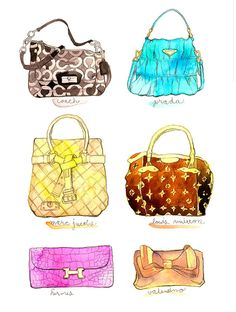 Items similar to Contemporary Modern Illustration Fashion Original Lots of  Purses Handbags Bags French Style by JUURI 9x12 on Etsy 77203076ad9aa