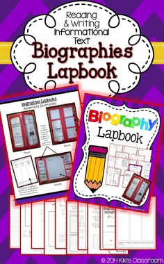 Biographies Lapbook--materials for conducting research and for presenting a writing piece, in a Biography Lapbook. Useful graphic organizer and fun presentation!