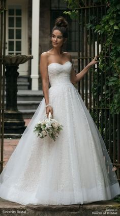 Sincerity Bridal Fall 2018 Allover Lace Ball Gown with Tulle Overlay