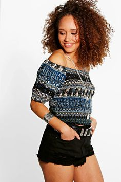 Nina Printed Woven Shirred Off The Shoulder Top