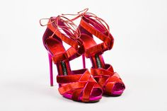 Tom Ford Red Fuchsia Velvet Metallic Leather Woven Sandal Heels SZ 39 #TomFord #Strappy