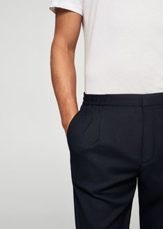 Pleated textured chinos | MANGO MAN