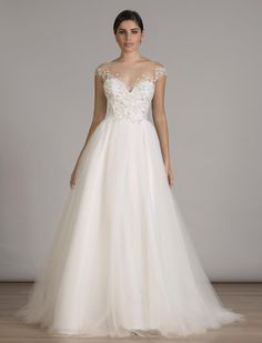 Romantic wedding dress idea - tulle ball gown wedding dress with illusion cap sleeves + tulle ball gown. Style 6839 by Find more wedding dress inspiration by on 2016 Wedding Dresses, Wedding Dresses Photos, Wedding Dress Trends, Bridal Dresses, Gown Wedding, Wedding Ideas, Modest Wedding, Wedding Pictures, Wedding Bells