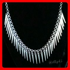 """NWOT Silver Spikes Necklace Funky, boho, chic or edgy - whatever your style, this can be worked into your wardrobe day or night. Delicate and light, it will not weigh you down. The second photo shows an imperfection that remained unseen until I took these pictures. That is how insignificant the blemish is. Adjustable 15-18"""". Fast Shipping  Thanks for peeking through the rest of my closet!! Jewelry Necklaces"""