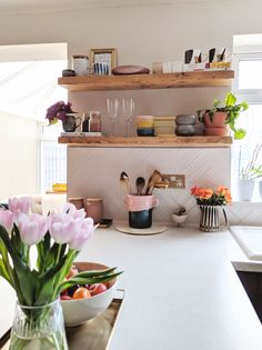 Styling kitchen shelves : How I've styled my open rustic kitchen shelving on whi. - Styling kitchen shelves : How I've styled my open rustic kitchen shelving on white herringbone ti - Rustic Kitchen, Kitchen Decor, Kitchen Design, White Kitchen Cabinets, Kitchen Shelves, White Herringbone Tile, Kitchen Styling, Home Decor Inspiration, Home Kitchens