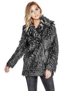Guess Women's Long Sleeve Anna Fur Jacket Faux Fur Jacket, Fur Coat, Anna, Mode Glamour, Guess Girl, Fake Fur, Moto Jacket, Long Sleeve, Outerwear Jackets