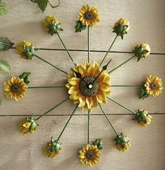Sunflower Art Decorative Wall Clock from Collections Etc. Sunflower Themed Kitchen, Sunflower Art, Sunflower Home Decor, Sunflower Fields, Collections Etc, Kitchen On A Budget, Kitchen Tips, Kitchen Redo, Kitchen Themes