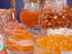 https://flic.kr/p/8Dv4E8 | Orange Candy Buffet - Zoom | Create a fabulous candy buffet featuring an assortment of delicious and colorful orange sweets!
