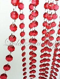 LolaSaturdays 15 Ft Acrylic Crystal Garland 5 YD Red