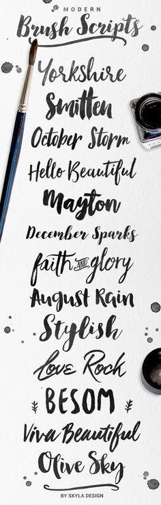 Modern brush fonts are very popular at the moment. Here are a few of my favorites.     Yorkshire  | Smitten  | October Storm  | Hello Be...