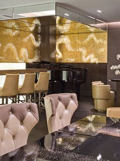 Sharon Marston - Custom Starling Wall Panels, Quattro Passi Restaurant, London UK