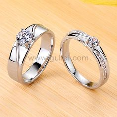 Couple Rings Gold, Engagement Rings Couple, Diamond Engagement Rings, Silver Rings, Solitaire Engagement, Silver Jewelry, Matching Promise Rings, Matching Rings, Matching Couples
