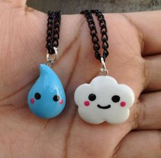 Kawaii raindrop and cloud necklace set by Saloscraftshop.deviantart.com on @deviantART