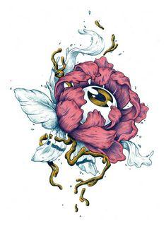 Botanical Eyes on Illustration Served Japanese Tattoo Art, Japanese Art, Art Sketches, Art Drawings, Arte Obscura, Psychedelic Art, Surreal Art, Aesthetic Art, Art Inspo