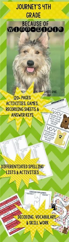 """128 pages of activities and games for """"Because of Winn-Dixie"""" grade Journey's curriculum. 4th Grade Ela, 4th Grade Classroom, Classroom Ideas, Spelling Lists, Yellow Brick Road, Reading Lessons, Children's Books, Textbook, Language Arts"""