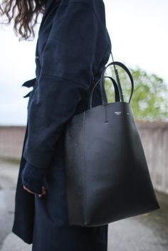 Black leather tote bag - my everyday carryall.