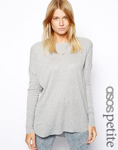 Image 1 of ASOS PETITE Long Sleeved Top with Curved Hem In Rib
