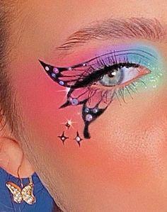Indie Makeup, Edgy Makeup, Makeup Eye Looks, Eye Makeup Art, Crazy Makeup, Cute Makeup, Eyeshadow Makeup, Eyeshadow Looks, Creative Eye Makeup