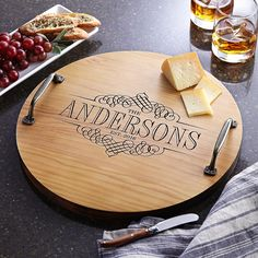 Need a unique gift? Send Decorative Family Name Wood Barrel Tray and other personalized gifts at Personal Creations. Personalized Housewarming Gifts, Hostess Gifts, Housewarming Invitations, Personalized Items, Wood Gifts, Diy Gifts, Party Gifts, Serving Tray Wood, Round Wood Tray