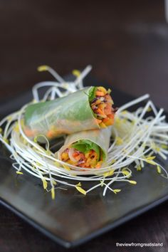 These Spicy Asian Slaw Summer rolls are as beautiful as they are delicious!