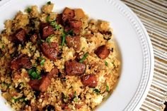 A paleo recipe for cauliflower dirty rice with andouille sausage. A great low-carb and grain-free side dish or main course. A paleo recipe for cauliflower dirty rice with andouille sausage. A great low-carb and grain-free side dish or main course. Rice Recipes, Pork Recipes, Paleo Recipes, Cooking Recipes, Paleo Whole 30, Whole 30 Recipes, Andouille Sausage Recipes, Chicken Sausage Recipes, Paleo Rice