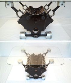 1969 Pontiac Firebird Engine Block Coffee Table More - Pinned by Ryan Richard Gelatka Car Part Furniture, Automotive Furniture, Automotive Decor, Furniture Projects, Engine Block Table, Engine Coffee Table, Metal Projects, Welding Projects, Unusual Coffee Tables