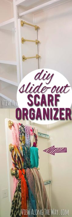 DIY Closet Organization Ideas for Messy Closets and Small Spaces. Organizing Hacks and Homemade Shelving And Storage Tips for Garage, Pantry, Bedroom., Clothes and Kitchen | DIY slide-out scarf and belt organizers #organizing #closets #organizingideas Small Bedroom Storage, Small Space Bedroom, Small Space Storage, Small Spaces, Small Bedrooms, Diy Organizer, Storage Organizers, Diy Kitchen Storage, Diy Storage