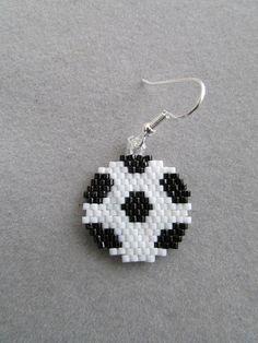 Soccer Ball Earrings in Delica Beads by DsBeadedCrochetedEtc