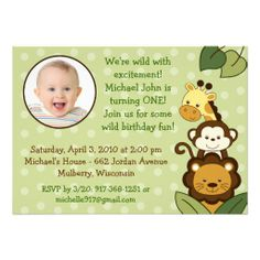 Safari Jungle Animal Photo Birthday Invitations