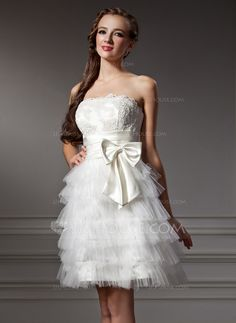 Homecoming Dresses - $122.99 - A-Line/Princess Strapless Knee-Length Satin Tulle Homecoming Dress With Ruffle Lace (022007581) http://jjshouse.com/A-Line-Princess-Strapless-Knee-Length-Satin-Tulle-Homecoming-Dress-With-Ruffle-Lace-022007581-g7581?ver=xdegc7h0
