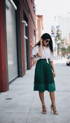 This emerald green pleated skirt with net details is AMAZING!  One of my…
