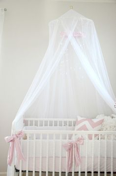 Pink, white, grey nursery. Crib canopy little baby bateman