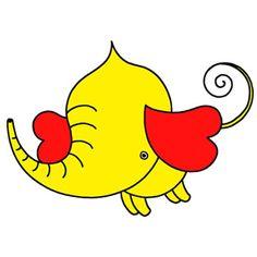 Elephant cartoon character - Ear like Hearts