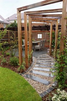 Stepping stones, a pergola, wall sculpture and interesting planting provide these clients with a garden they are delighted with. By Rhoda Maw Garden Design The post Stepping stones, a pergola, wall sculpture and int… appeared first on Best Pins for Yours. Small Cottage Garden Ideas, Garden Cottage, Small Garden Design, Veg Garden, Vegetable Gardening, Garden Beds, Patio Pergola, Wooden Pergola, Corner Pergola