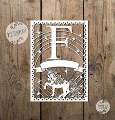 Unicorn Letter 'F' SVG PDF Design - Papercutting Vinyl Template Commercial Use - Papercut - nursery papercut - new baby papercut